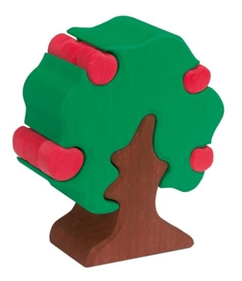 Houten groene appelboom met bruin stam en twaalf rode appeltjes die je in de boom kunt steken of eruit nemen.