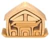 17 meubeltjes die samengesteld een huisje vormen, bevat allerhande meubeltjes voor het poppenhuis, in lindehout geolied.