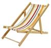 Chaise longue pour poupées en bois de hêtre avec toile rayée multicolore.