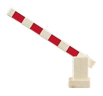Houten spoorweg slagboom. Speelgoed slagboom, gestreept rood en wit, kan omhoog en naar beneden.