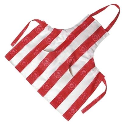 Kinderkeukenschort wit en rood  gestreept.
