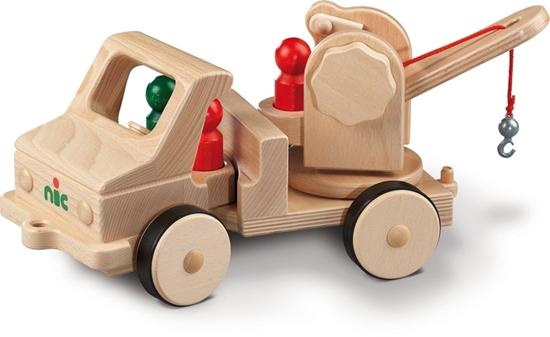 Volledig functionerend houten speelgoed takelwagen met metalen haak.