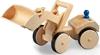 Chargeur sur pneus jouet en bois avec roues recouvertes de caoutchouc et godet en position élevée.
