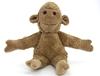Peti singe en coton bio beige, assis les bras ouverts.