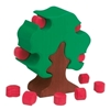 Pommier en bois vert avec tronc brun et 12 pommes rouges qu'on peut placer dans l'arbre ou bien en ôter.