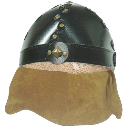 Picture of Knight helmet black with leather neck protection