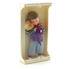 Doll for dollhouse, blond toddler with Teddy bear in a box.