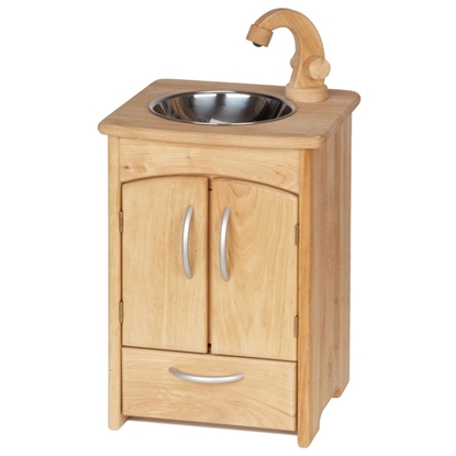 Children's sink in solid alder wood. In the front two doors open on a blue lacquered bucket. Underneath is a drawer. On the top is a round bassin in stainless steal with a wooden crane.