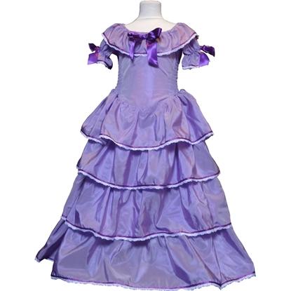 Lang paars prinsessenkleed met vier lagen ruches in de rok en één rond de hals en drie paarse strikken, twee op de mouwen en één in het midden op de borst.