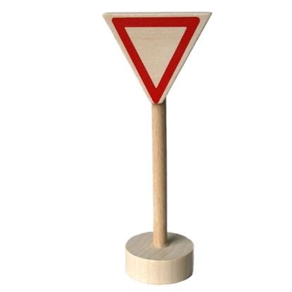 "Picture of Wooden traffic sign ""give way"""