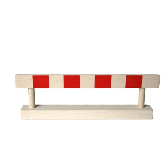 Sluitboom, wit en rood gestreept, speelgoed om met de autootjes te spelen.