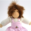 Picture of Doll with mohair hair and pink dress 25cm