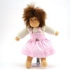 Small rag doll with brown mohair hair and brown eyes. She wears a with sweatshirt and pink pinafore gown. She looks like she is jumping.