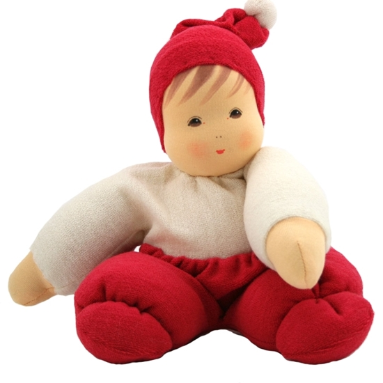 Picture of Doll white and red terry