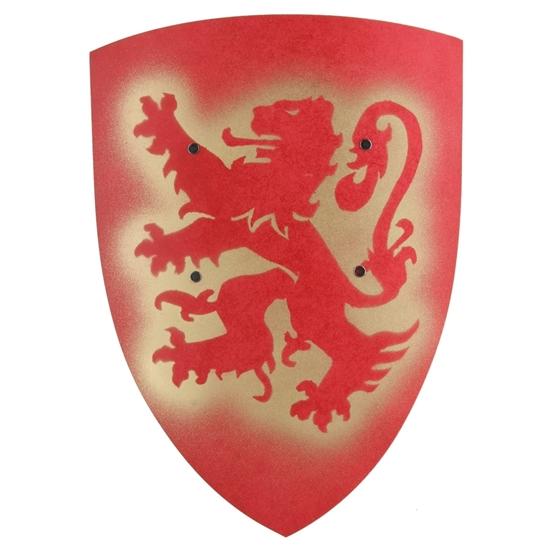 Houten rode gebogen speelgoed schild met afbeelding van een rode heraldische leeuw.