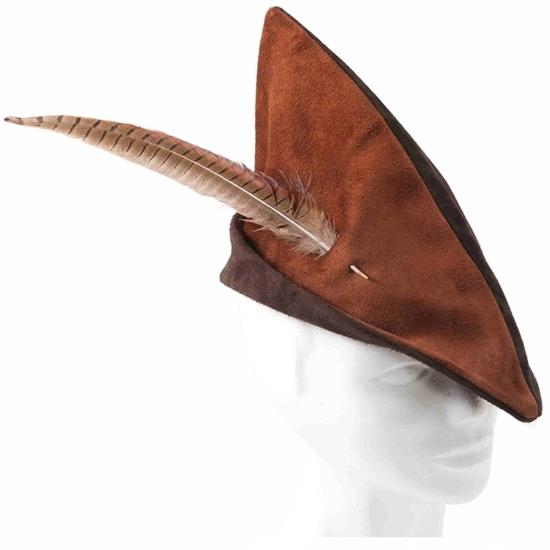 lederen hoed met pluim in de Stijl van Robin Hood.