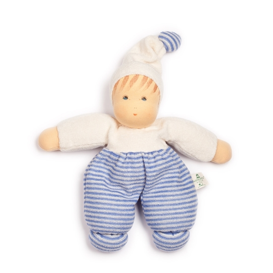 Picture of Doll blue and white striped terry 28cm
