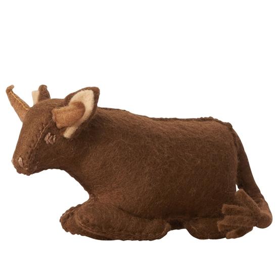 Speelgoed koe in wolvilt.