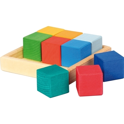Picture of Set of 9 multicolor wooden blocks in box