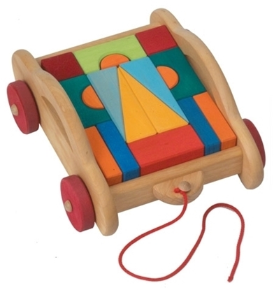 Picture of Pull along cart with wooden blocks