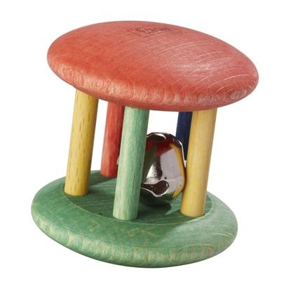 Cilinder met 5 houten kolommen en in het midden een metalen belletje, houten bio rammelaar voor babytjes in lichte kleuren.