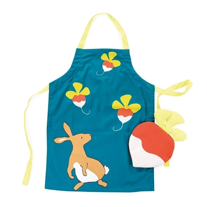 Picture of Green apron for kids with radish mitten
