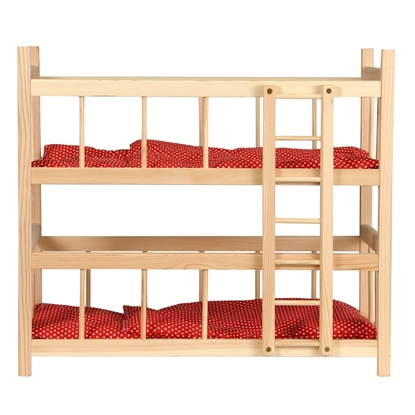 Picture of Wooden bunk bed with red bed linen