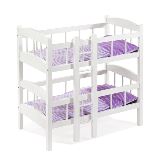 2 boven elkaar staande witte stapelbedden, beide met paars beddengoed.