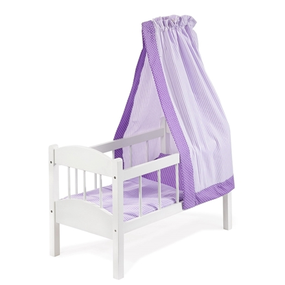 Picture of White doll bed with purple canopy