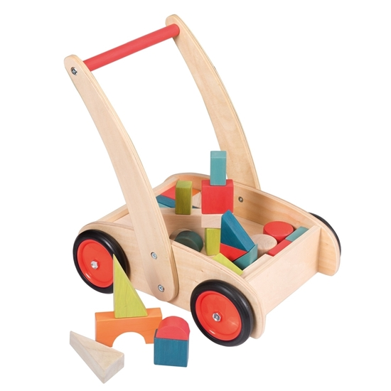 toy estate. wooden baby walker with blocks