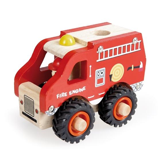 Rode speelgoed brandweerwagen met wit dak, zwarte rubberen  banden en een bestuurder.