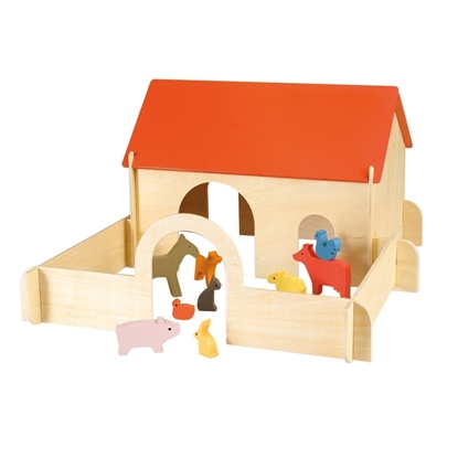 Picture of Wooden toy farmhouse with animals