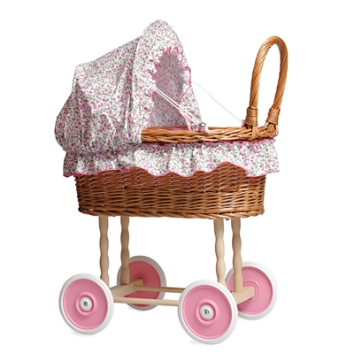 Picture of Wicker doll pram with floral lining