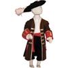 Longue veste de pirate brune avec un passement doré, des manchettes et des poches rouges, une large écharpe rouge à la taille sur un mannequin avec chapeau à plume.