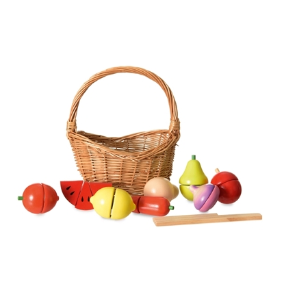 Picture of Wooden vegetables and fruit in basket