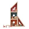 4 modules à arranger librement pour former une maison de poupée, y compris les meubles et les poupées de maison de poupée.