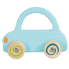 Light blue wooden toy car for baby hands.