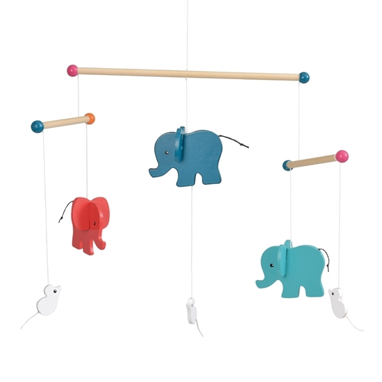 Picture of Cradle mobile with wooden elephants