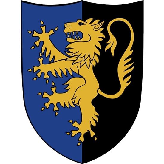 Groot houten speelgoed schild, half  blauw en half zwart, met een staande gele leeuw.