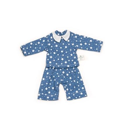 Nanchen poppenpyjama blauw met witte sterretjes en een wit kraagje.