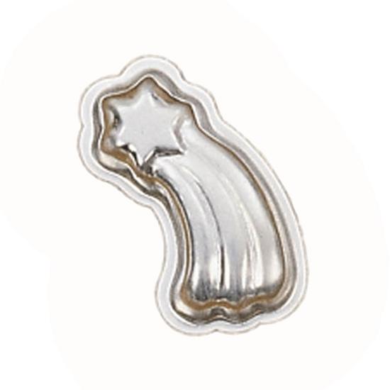 Kleine metalen bakvorm in de vorm van een zespuntige ster met een lange staart of komeet.